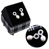 kiss me® Schmuck Ohrring, 925 Sterling Silber, mit Karton-box & Natürliche kultivierte Süßwasserperlen, natürlich, Micro pave Zirkonia, 8x18.50x7mm, verkauft von Paar