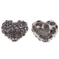 Zinklegierung Herz Perlen, metallschwarz plattiert, mit Strass & hohl, frei von Blei & Kadmium, 12x10x7mm, Bohrung:ca. 2mm, 10PCs/Tasche, verkauft von Tasche