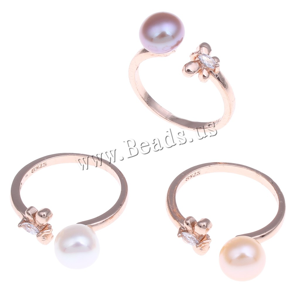 Buy Freshwater Pearl Finger Ring Brass Freshwater Pearl Butterfly rose gold color plated natural & 925 logo & open & cubic zirconia & faceted colors choice nickel lead & cadmium free 7-8mm 8x25x20mm US Ring Size:7 Sold PC