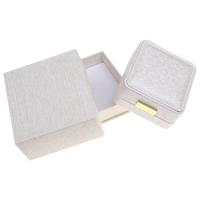 Karton Halskettenkasten, mit PU Leder & Baumwollsamt & Zinklegierung, Quadrat, goldfarben plattiert, 88x45x92mm, verkauft von PC