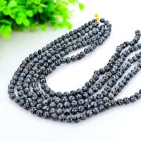 Schneeflocke Obsidian, rund, natürlich, verschiedene Größen vorhanden, schwarz, Bohrung:ca. 1mm, Länge:ca. 15 ZollInch, verkauft von Menge