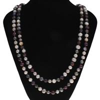 Natürliche Süßwasser Perle Halskette, Natürliche kultivierte Süßwasserperlen, Kartoffel, farbenfroh, 7-8mm, verkauft per ca. 49.5 ZollInch Strang