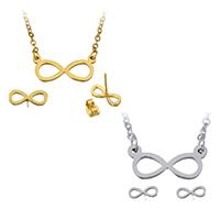 Edelstahl Schmucksets, Ohrring & Halskette, Unendliche, plattiert, Oval-Kette, keine, 18x8x1.5mm, 2x2.5x0.5mm, 10x4x12mm, Länge:ca. 19 ZollInch, verkauft von setzen