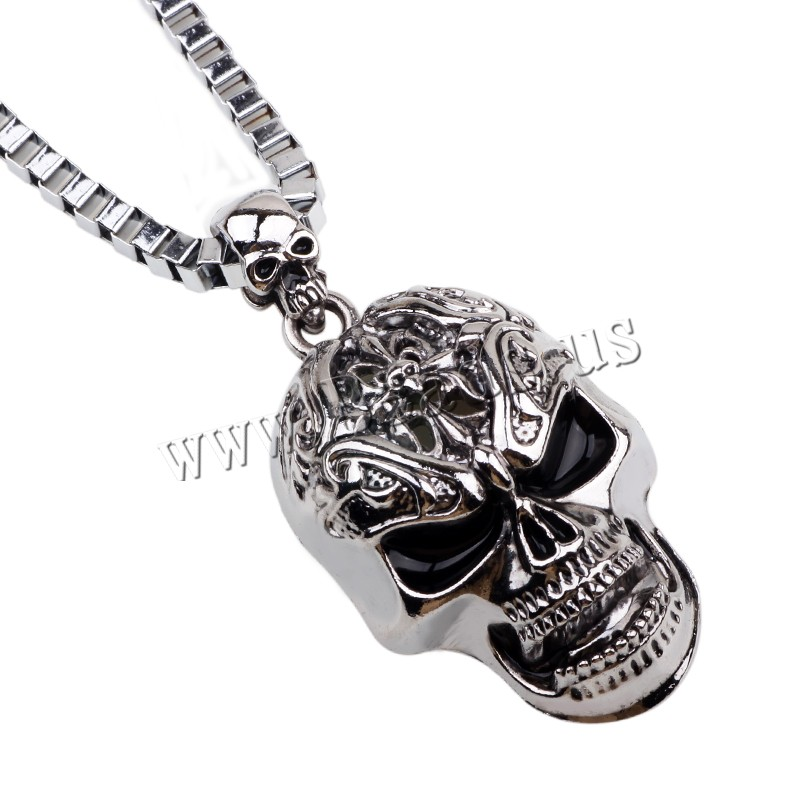 Buy Zinc Alloy Jewelry Necklace iron chain Skull platinum color plated box chain & enamel & blacken nickel lead & cadmium free 32x53mm Sold Per 21.5 Inch Strand