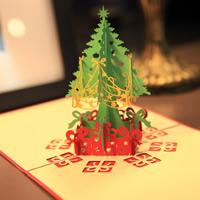 Christmas Greeting Card, Papier, Weihnachtsbaum, Wort Frohe Weihnachten, 3D-Effekt & Weihnachtsschmuck, rot, 150x150mm, verkauft von PC