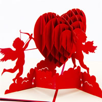 Papier 3D Grußkarte, 3D-Effekt, rot, 130x155mm, 5PCs/Menge, verkauft von Menge