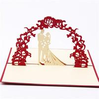 Papier 3D Grußkarte, Paar, 3D-Effekt, rot, 100x150mm, 10PCs/Menge, verkauft von Menge