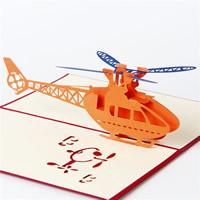 Papier 3D Grußkarte, Flugzeug, 3D-Effekt, rot, 100x150mm, 10PCs/Menge, verkauft von Menge