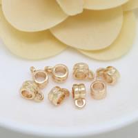 Messing Stiftöse Perlen, 24 K vergoldet, frei von Nickel, Blei & Kadmium, 6x9x4mm, Bohrung:ca. 1.5mm, 3.8mm, 100PCs/Menge, verkauft von Menge