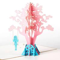 Papier 3D Grußkarte, Mädchen, 3D-Effekt, Kaffeefarbe, 128x148mm, 10PCs/Menge, verkauft von Menge