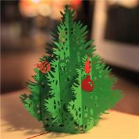 Christmas Greeting Card, Papier, Weihnachtsbaum, 3D-Effekt & Weihnachtsschmuck, rot, 150x150mm, verkauft von PC