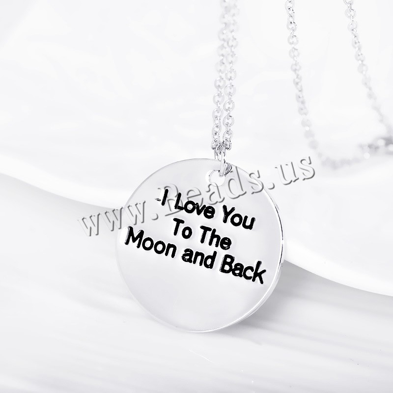 Buy Zinc Alloy Jewelry Necklace Flat Round word love moon back silver color plated oval chain & enamel nickel lead & cadmium free 24mm Sold Per Approx 17 Inch Strand