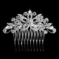 Braut Dekoratives Haarkämmchen, Zinklegierung, Blume, silberfarben plattiert, für Braut & mit Strass, frei von Blei & Kadmium, 80x60mm, 3PCs/Tasche, verkauft von Tasche