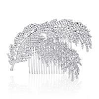 Braut Dekoratives Haarkämmchen, Zinklegierung, Federn, silberfarben plattiert, für Braut & mit Strass, frei von Blei & Kadmium, 120x80mm, verkauft von PC