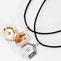 Mode Medaillon Halskette, Messing, mit Gewachste Nylonschnur, Sechseck, plattiert, mit Foto-Medaillon & mit Strass, keine, frei von Nickel, Blei & Kadmium, 18x20mm, verkauft per ca. 13 ZollInch Strang