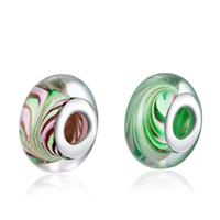 kommen on® Schmuck Beads, Lampwork, Rondell, Sterling Silber-Dual-Core ohne troll, keine, frei von Nickel, Blei & Kadmium, 8x15mm, Bohrung:ca. 5mm, verkauft von PC