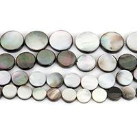 Schwarze Muschelperlen, flache Runde, natürlich, verschiedene Größen vorhanden, Bohrung:ca. 1mm, verkauft per ca. 16 ZollInch Strang