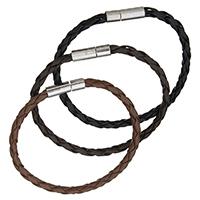 PU Schnur Armbänder, PU Leder, Zinklegierung Bajonettverschluss, Platinfarbe platiniert, keine, frei von Nickel, Blei & Kadmium, 4mm, verkauft per ca. 7 ZollInch Strang
