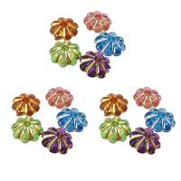 Gemischte Acrylperlen, Acryl, Blume, Silberdruck & Golddruck, gemischte Farben, 7x3mm, Bohrung:ca. 1mm, 7500PCs/Tasche, verkauft von Tasche