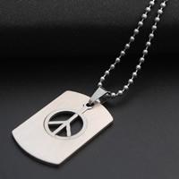 Edelstahl Schmuck Halskette, Frieden Logo, Kugelkette, originale Farbe, Länge:ca. 19.6 ZollInch, 30SträngeStrang/Menge, verkauft von Menge