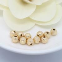 Messing Sternenstaub Perlen, rund, 24 K vergoldet, verschiedene Größen vorhanden & Falten, frei von Nickel, Blei & Kadmium, 50PCs/Menge, verkauft von Menge