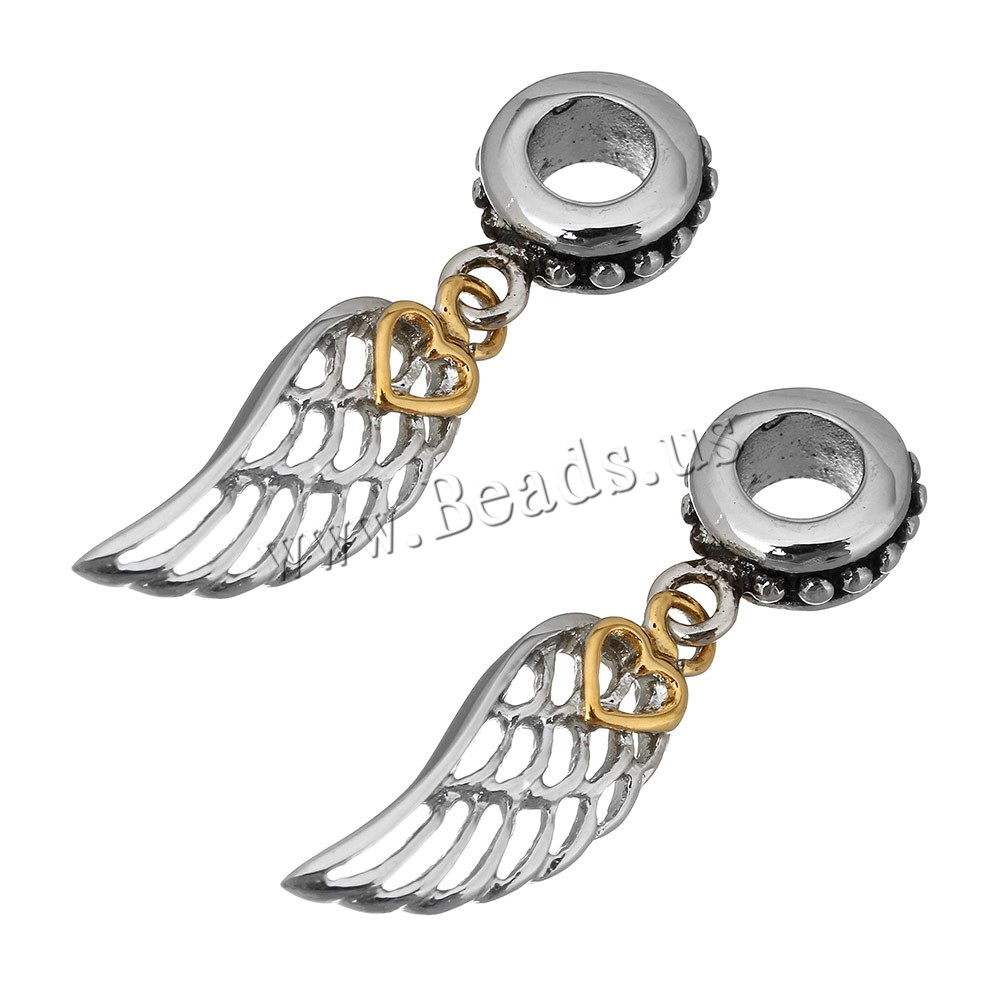 Buy Stainless Steel European Pendants Wing Shape plated without troll & two tone & hollow & blacken 8x31x4.5mm 20.5x7.5x2.5mm Hole:Approx 5mm 1 Sold Lot