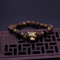 Natürliche Tiger Eye Armband, Tigerauge, mit Zinklegierung, antike Goldfarbe plattiert, 9mm, verkauft per ca. 8 ZollInch Strang