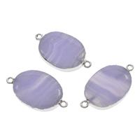 Sosalith Schmuckverbinder, mit Eisen, flachoval, Platinfarbe platiniert, 1/1-Schleife, 32x18x6mm-34x20x7mm, Bohrung:ca. 2mm, 10PCs/Tasche, verkauft von Tasche