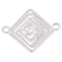 Eisen Schmuckverbinder, mit Acryl, Rhombus, Platinfarbe platiniert, 1/1-Schleife, frei von Blei & Kadmium, 42x33x10mm, Bohrung:ca. 3mm, verkauft von PC