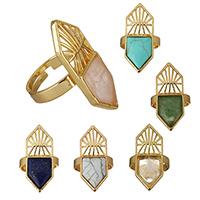 Messing Open -Finger-Ring, mit Edelstein, goldfarben plattiert, natürliche & verschiedenen Materialien für die Wahl & einstellbar, frei von Nickel, Blei & Kadmium, 14.50x36x3mm, Größe:9, 10PCs/Menge, verkauft von Menge