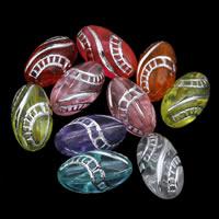 Silberdruck Acrylperlen, Acryl, oval, transparent, gemischte Farben, 7x13mm, Bohrung:ca. 1mm, ca. 1300PCs/Tasche, verkauft von Tasche