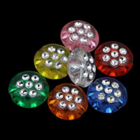 Silberdruck Acrylperlen, Acryl, flache Runde, transparent, gemischte Farben, 10x5mm, Bohrung:ca. 1mm, ca. 1980PCs/Tasche, verkauft von Tasche
