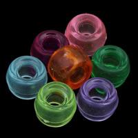 Transparente Acryl-Perlen, Acryl, Trommel, gemischte Farben, 6x9mm, Bohrung:ca. 2mm, ca. 1800PCs/Tasche, verkauft von Tasche