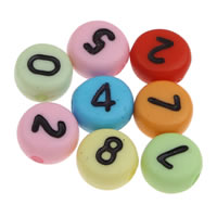 Anzahl Acrylkorn, Acryl, mit einem Muster von Nummer & gemischt & Volltonfarbe, 4x7mm, Bohrung:ca. 1mm, ca. 3600PCs/Tasche, verkauft von Tasche