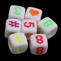 Anzahl Acrylkorn, Acryl, mit einem Muster von Nummer & gemischt & Volltonfarbe, weiß, 6x6mm, Bohrung:ca. 3mm, ca. 2750PCs/Tasche, verkauft von Tasche