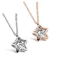 Edelstahl Schmuck Halskette, mit Verlängerungskettchen von 1.9lnch, Stern, plattiert, Oval-Kette & für Frau & mit kubischem Zirkonia, keine, 13x13mm, verkauft per ca. 16.5 ZollInch Strang