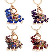 Schlüsselanhänger, Zinklegierung, Elephant, goldfarben plattiert, Emaille & mit Strass, keine, frei von Nickel, Blei & Kadmium, 60x70mm, 110mm, verkauft von PC