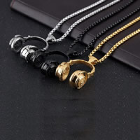 Herren-Strickjacke-Ketten-Halskette, Edelstahl, Kopfhörer, plattiert, Kastenkette & für den Menschen, keine, 45x59mm, verkauft per ca. 23.6 ZollInch Strang