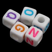 Alphabet Acryl Perlen, mit Brief Muster & gemischt & Volltonfarbe, weiß, 8x8mm, Bohrung:ca. 3mm, ca. 1150PCs/Tasche, verkauft von Tasche