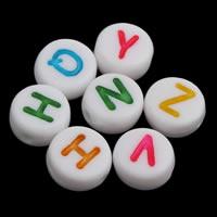 Alphabet Acryl Perlen, mit Brief Muster & gemischt & Volltonfarbe, weiß, 4x7mm, Bohrung:ca. 1mm, ca. 3600PCs/Tasche, verkauft von Tasche