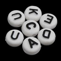 Alphabet Acryl Perlen, flache Runde, gemischtes Muster & mit Brief Muster & Volltonfarbe, weiß, 6x10mm, Bohrung:ca. 1mm, ca. 1650PCs/Tasche, verkauft von Tasche