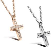 Edelstahl Schmuck Halskette, Kreuz, plattiert, Oval-Kette & Micro pave Zirkonia & für Frau, keine, 8x14mm, verkauft per ca. 16.5 ZollInch Strang