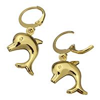 Edelstahl-Hebel zurück-Ohrring, Edelstahl, Dolphin, goldfarben plattiert, 12x14x1mm, 16x19x4mm, 12PaarePärchen/Menge, verkauft von Menge