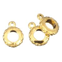 Zinklegierung Stiftöse Perlen, Kreisring, 24 K vergoldet, frei von Blei & Kadmium, 10x13x3mm, Bohrung:ca. 1mm, 6mm, 100G/Tasche, verkauft von Tasche