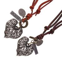Kuhhaut Pullover Halskette, mit Zinklegierung, Herz, plattiert, einstellbar & mit Brief Muster & hohl, keine, frei von Nickel, Blei & Kadmium, 45x40mm, Länge:ca. 30.7 ZollInch, 2SträngeStrang/Menge, verkauft von Menge