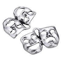 Zink-Aluminium-Anhänger, Zinklegierung, Maske, antik silberfarben plattiert, frei von Nickel, Blei & Kadmium, 22x15x2mm, Bohrung:ca. 2x4mm, 500PCs/Menge, verkauft von Menge