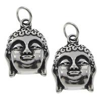 Buddhische Schmuck Anhänger, 316 L Edelstahl, Buddha, buddhistischer Schmuck & Schwärzen, 15x21x4mm, Bohrung:ca. 5mm, 10PCs/Tasche, verkauft von Tasche