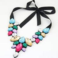 Kragen Halskette, Acryl, mit Satinband, facettierte, farbenfroh, 500mm, verkauft per ca. 19.69 ZollInch Strang