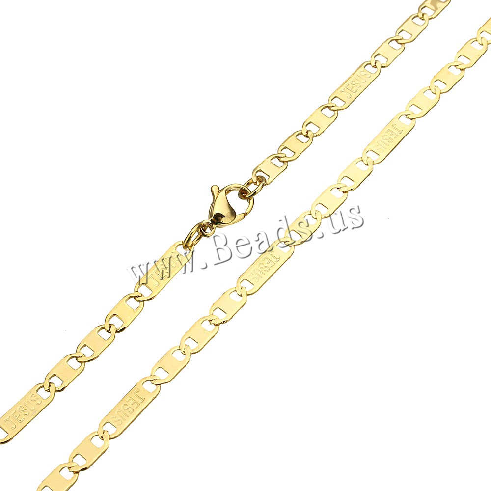 Stainless Steel Chain Necklace word Jesus gold color plated figaro chain 12.5x2.5x0.5mm 8x2.5x0.5mm Sold Per Approx 20 Inch Strand