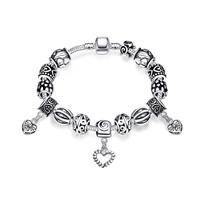 comeon® Schmuck Armband, Zinklegierung, mit Messingkette, Herz, plattiert, frei von Nickel, Blei & Kadmium, 8x10mm, verkauft per ca. 7.8 ZollInch Strang